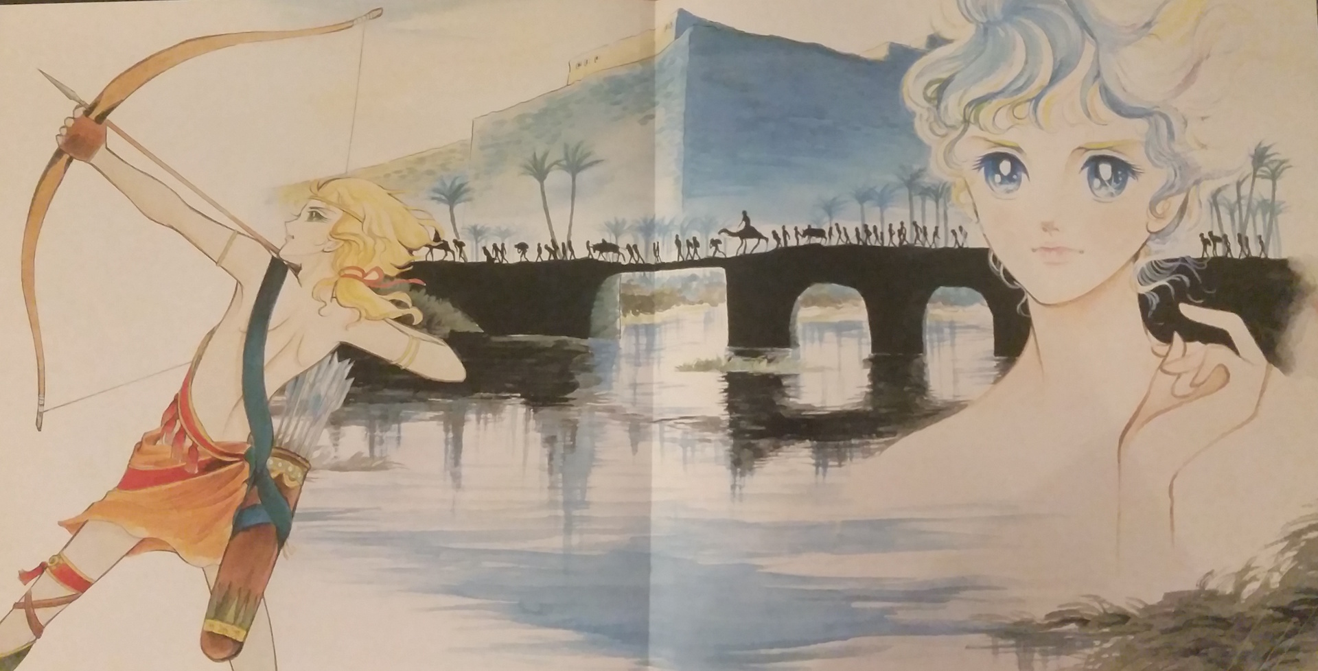 Gatefold insert from the album. A young boy archer on the left, standing in front of a desert caravan traveling over a bridge over (presumably) the Nile, flanked by palm trees and adobe buildings. To the right, a young blue-haired boy.